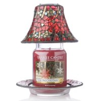 Yankee Candle Red & Gold Mosiac Shade, Tray & Large Jar
