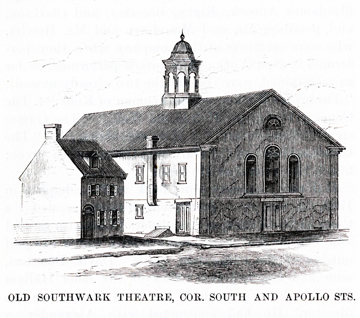 Southwark Theater, Library Company of Philadelphia, Unknown Artist, 1766.