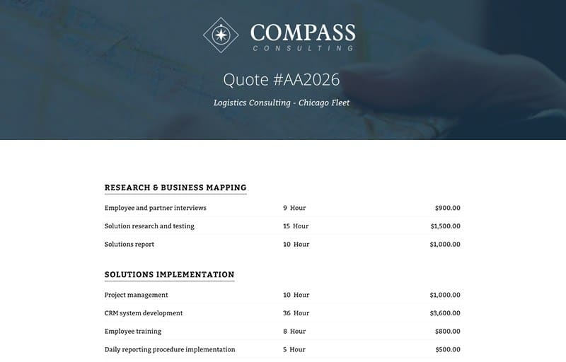 Consulting Quote Template