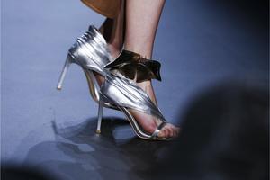 Metallic silver and burgundy velour sandal