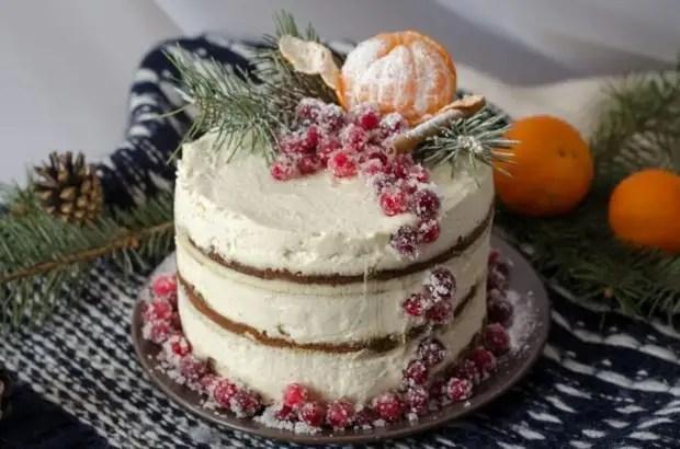 Как украсить новогодний торт мандаринами