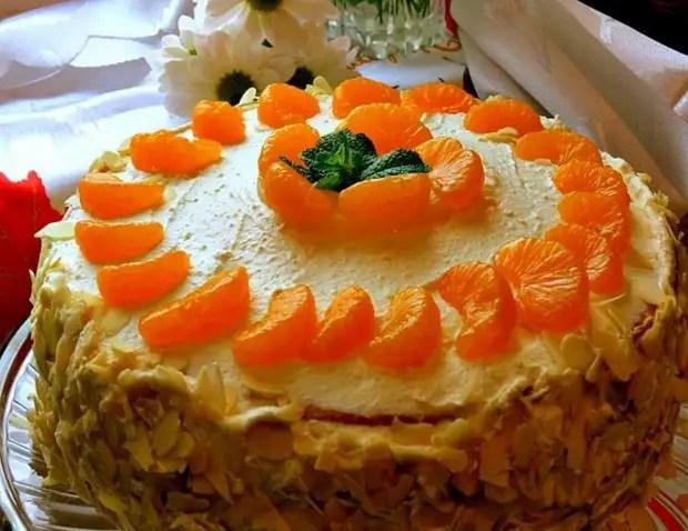 Как украсить простой торт мандаринами