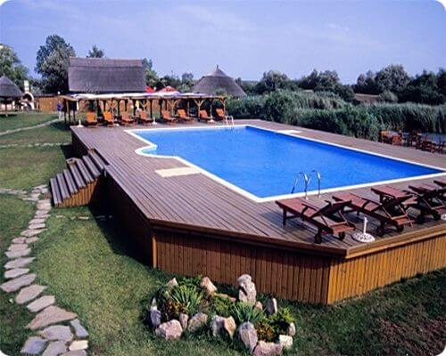 15 Fantastische oberirdische Pool-Deck-Designs