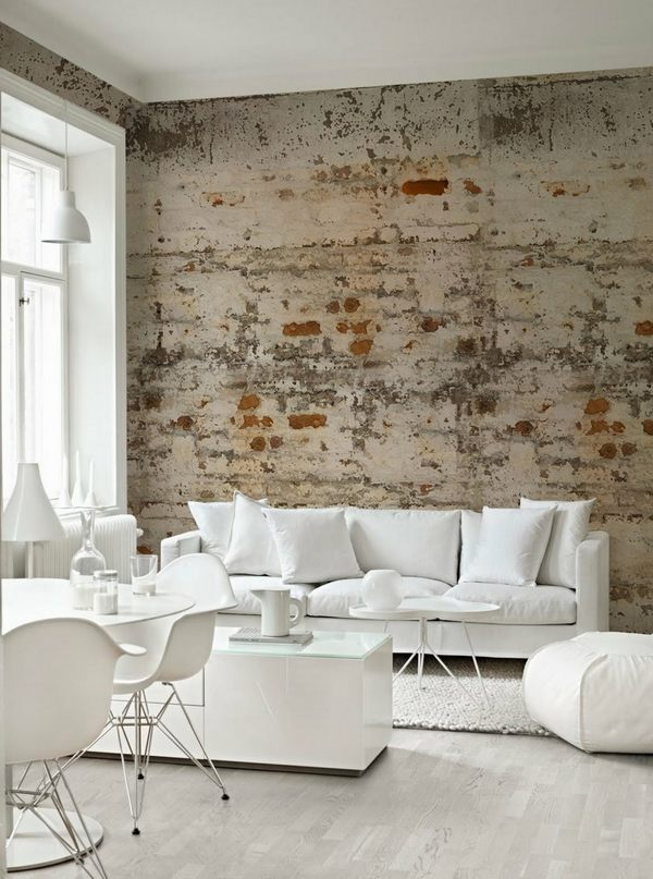 how-to-whitewash-brick-wall-wall-loft style ideen moderne weiße möbel skandinavisches design