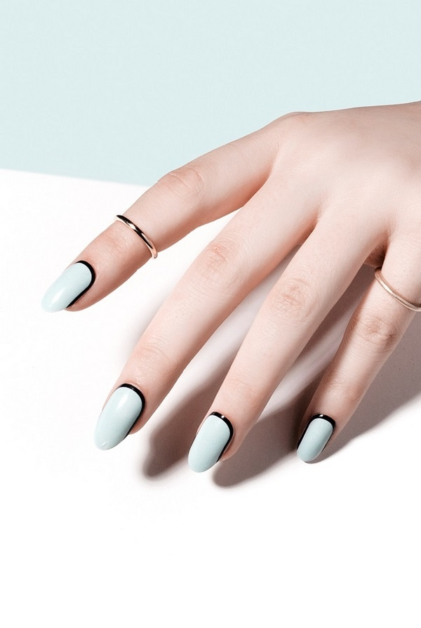 moon nail art blue black nail design
