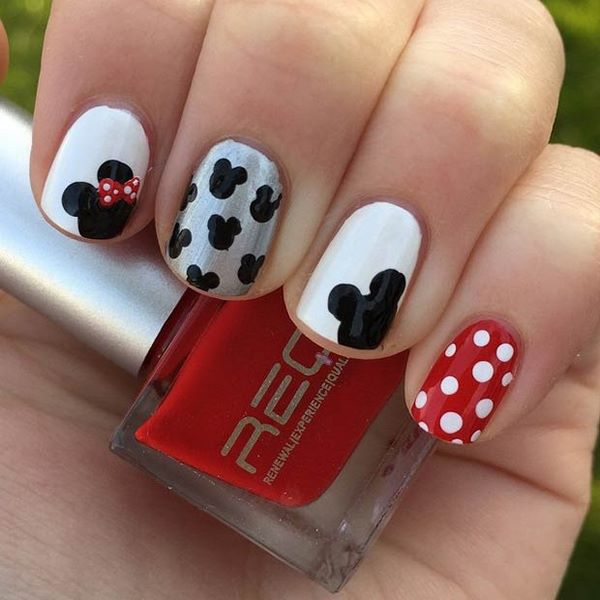 minnie mouse und polka dots kinder nail art