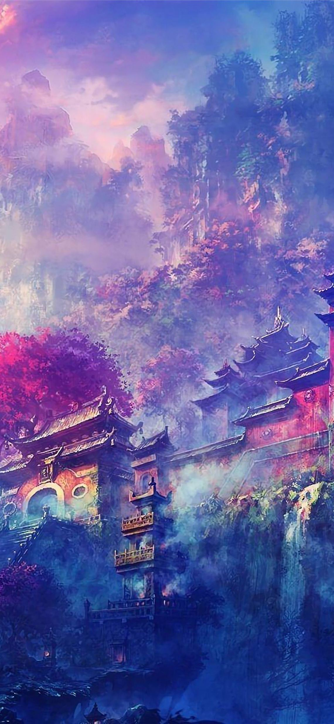 Buddha Oriental Castle Scenery Anime 4k Iphone Wallpapers Free Download