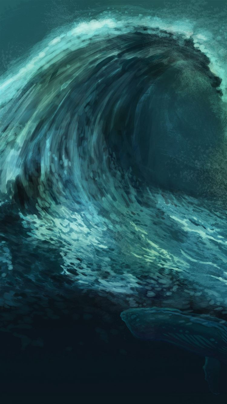 Wave Green Whale Art Illust Iphone Wallpaper Download