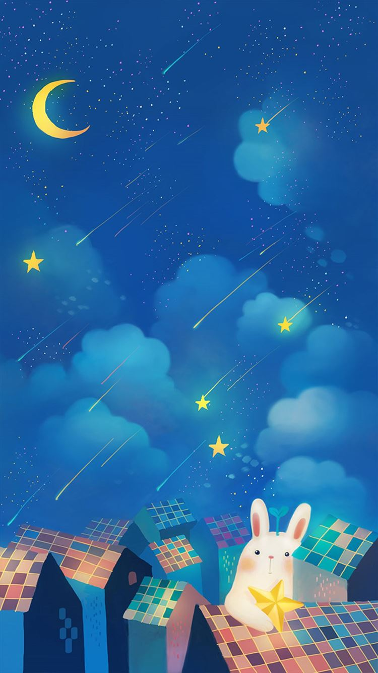 romantic night moon star