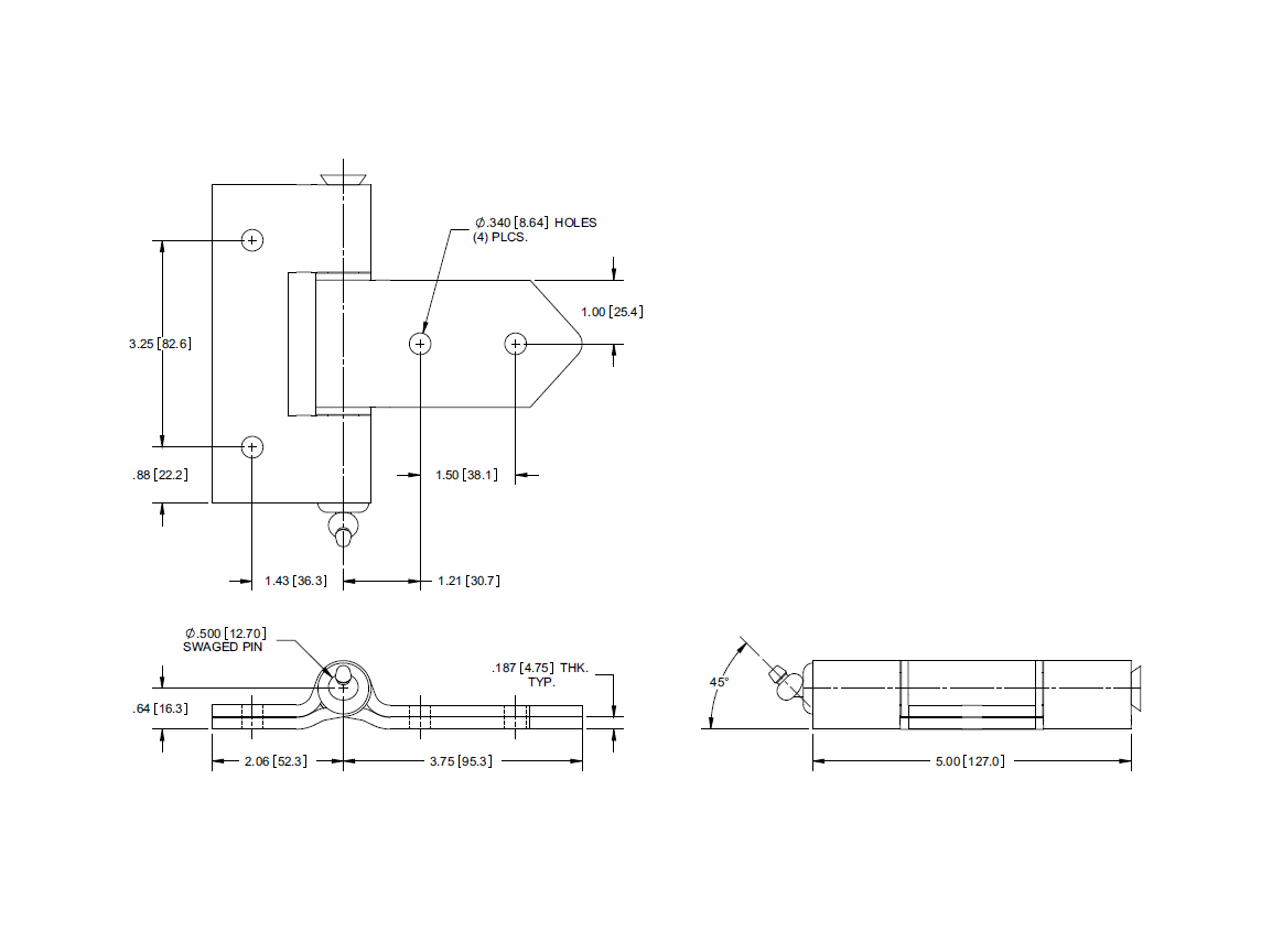 steel strap hinge with grease fitting sp h1086lh drawing [ 1164 x 855 Pixel ]