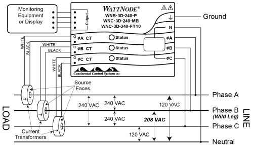 small resolution of four wire delta circuits continental control systems llc wye delta connection diagram 480 delta wiring diagram