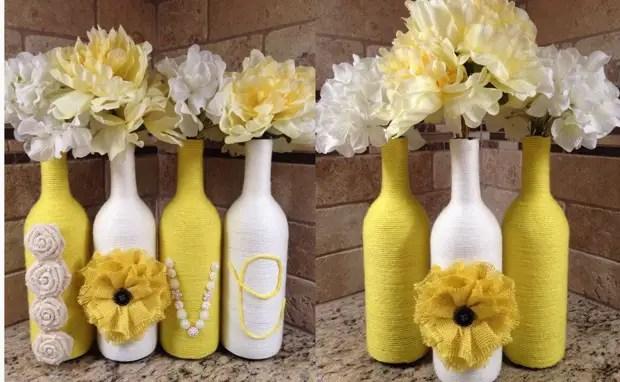 Botol hiasan putih dan kuning