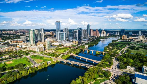 A aerial view of the city skyline in Austin Texas