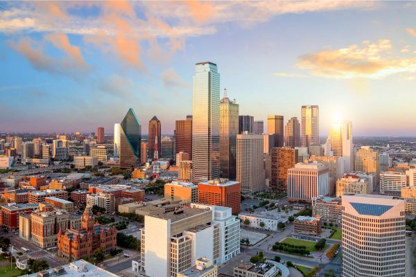 An beautiful aerial view of downtown Dallas in Texas.