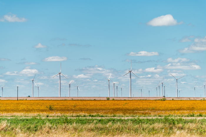 Windmill farm near Lubbock Texas
