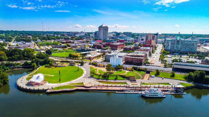 Drone view of Montgomery in Alabama