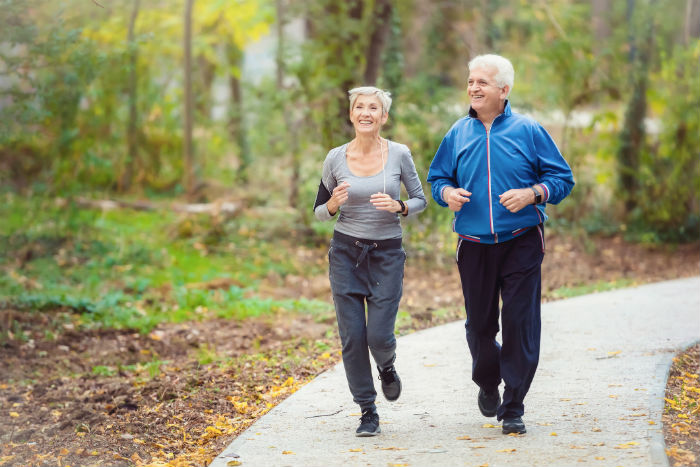 Senior couple running in Akron, OH