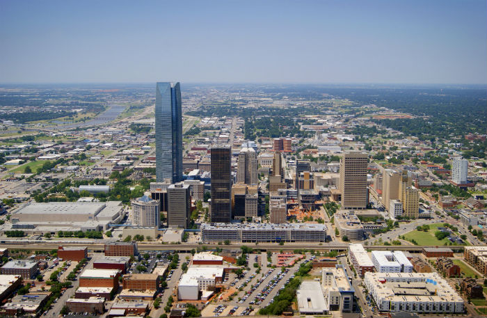 An aerial view of downtown Oklahoma City, OK