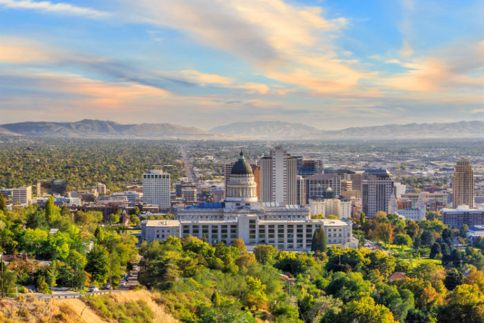View of Salt Lake City in Utah
