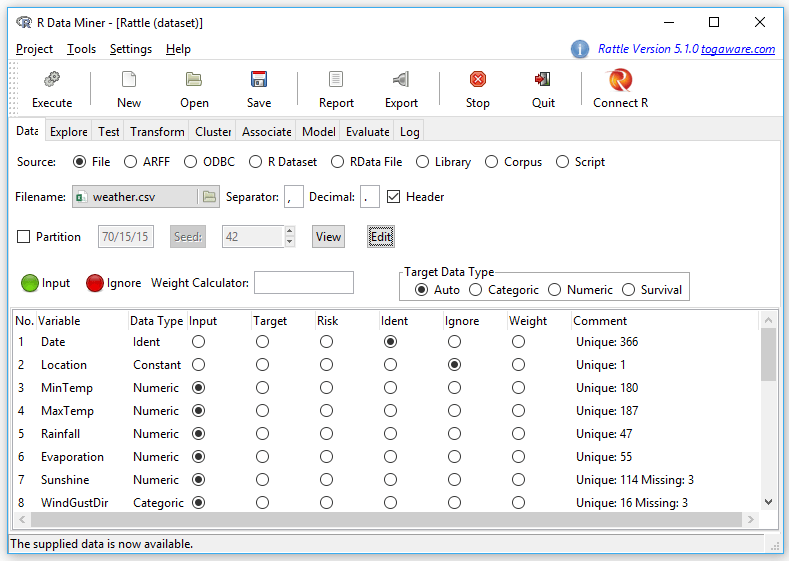 Review of the Rattle GUI for R | r4stats com