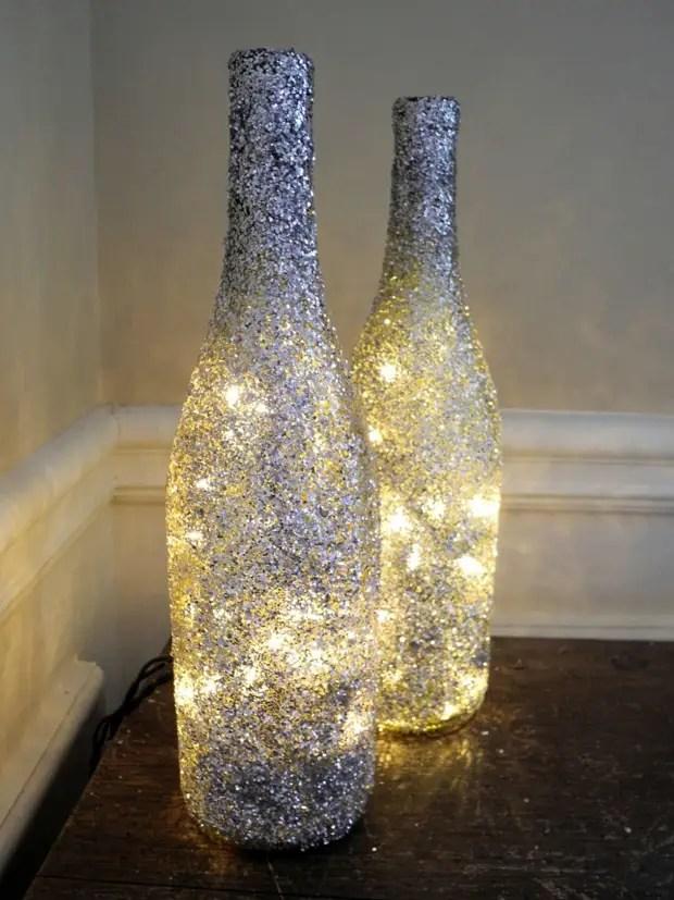 Hiasan yang indah botol jejak dan garland