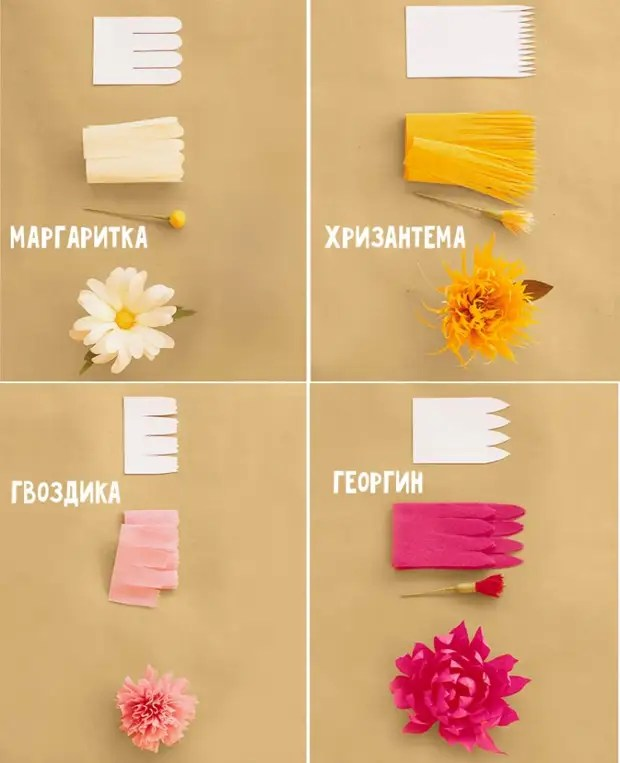 Paper flowers: step-by-step photos + schemes and patterns