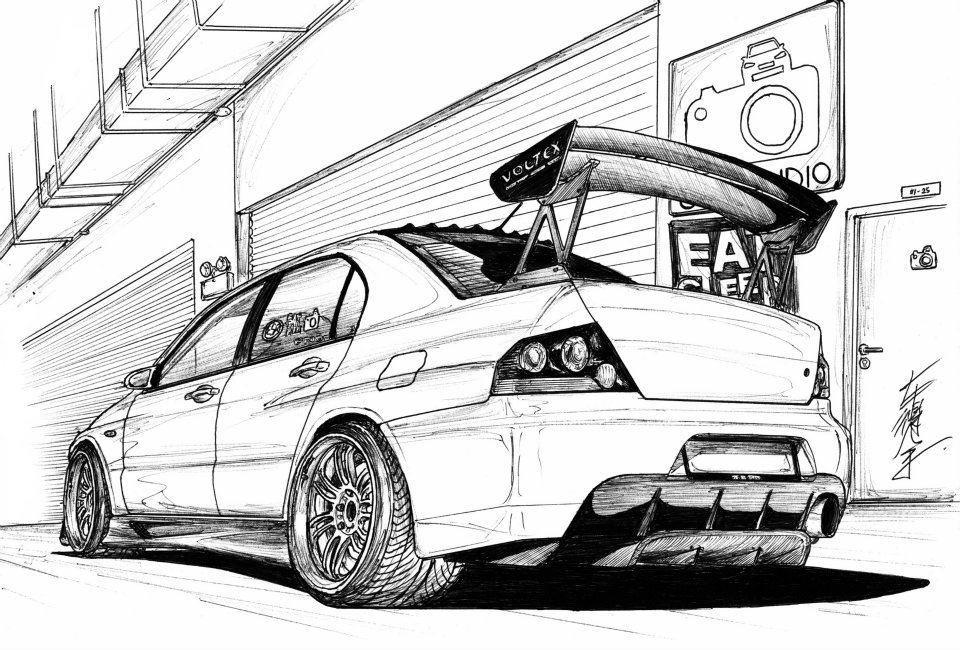 Mitsubishi Lancer Evo Drawing Sketch Coloring Page