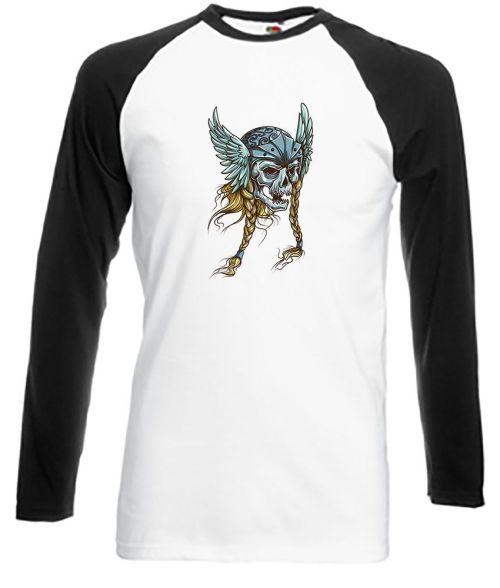 viking skull with long plaits shirt