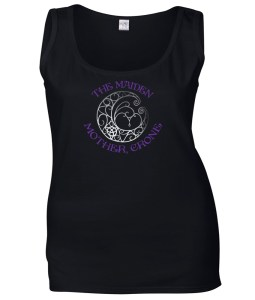 maiden mother and crone with fancy moon ladies pagan shirt