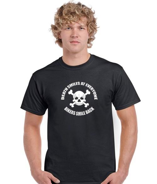death smiles at everyone, bikers smile back biker shirt