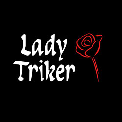 lady triker with red rose design