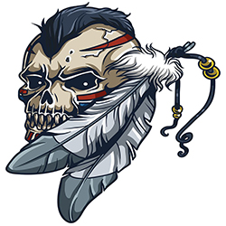 Skull with Mohican & Feathers tattoo style design
