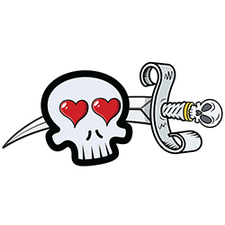 skull in love with sword tattoo style design
