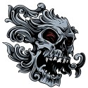 Skull with Red Eyes tattoo style design
