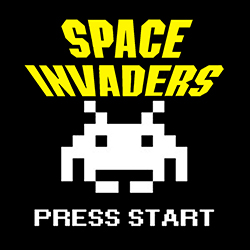 space invaders press start