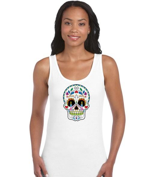 sugar skull design 03 ladies white shirt