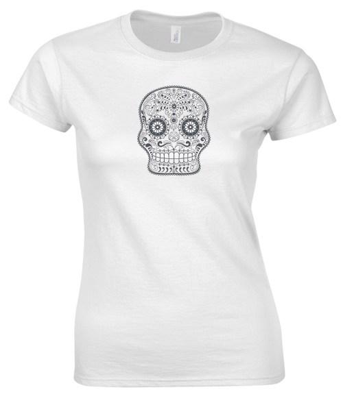 sugar skull design 08 ladies white shirt
