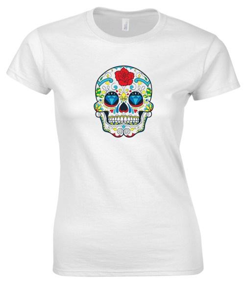 sugar skull design 02 ladies white shirt