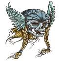 viking skull with long plaits design
