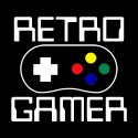 retro gamer with game pad funny shirt