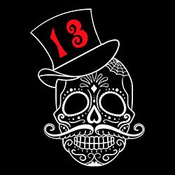day of the dead unlucky 13 sugar skull design