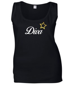 diva with gold star ladies top