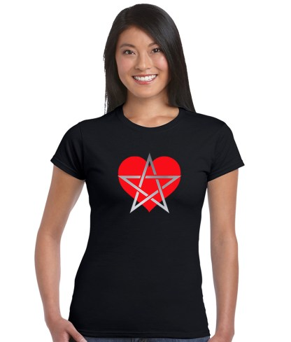 heart with pentagram pagan shirt