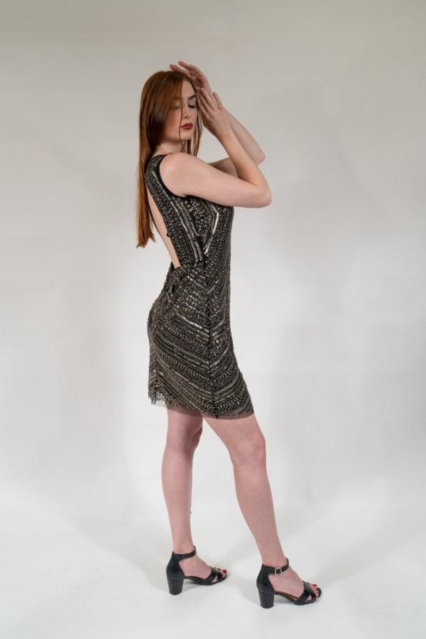Black & Silver Hand Embellished Lining Sleeveless Mini Dress1