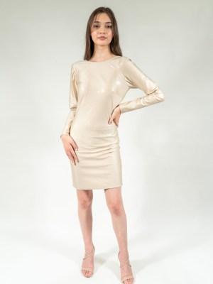 White Silver Shiny Semi-fit Dress casual short