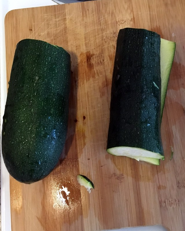 I cut the zucchini in half and only used one half for the recipe. It was the same size as 1 medium zucchini