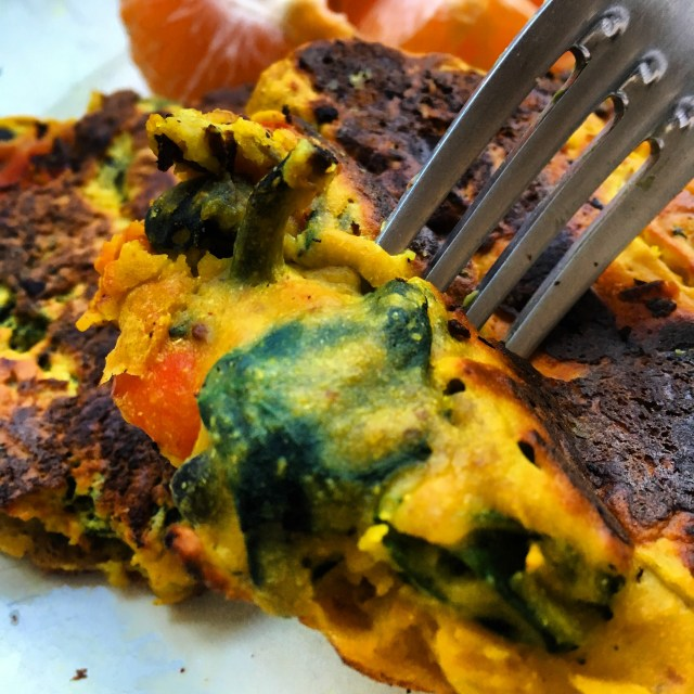 vegan omelette eating closeup