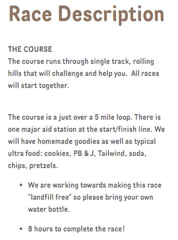 Earth Day 50k Course Description