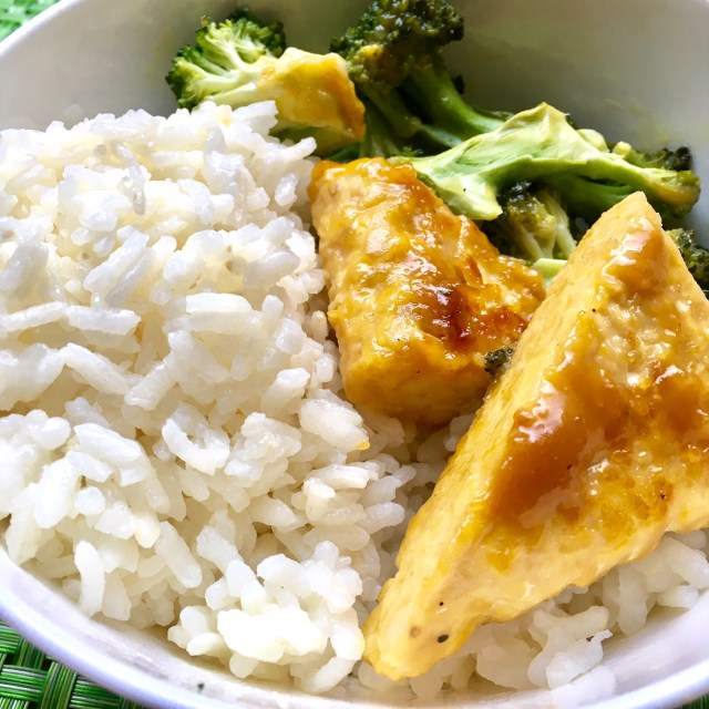 orange-miso glazed tempeh and broccoli