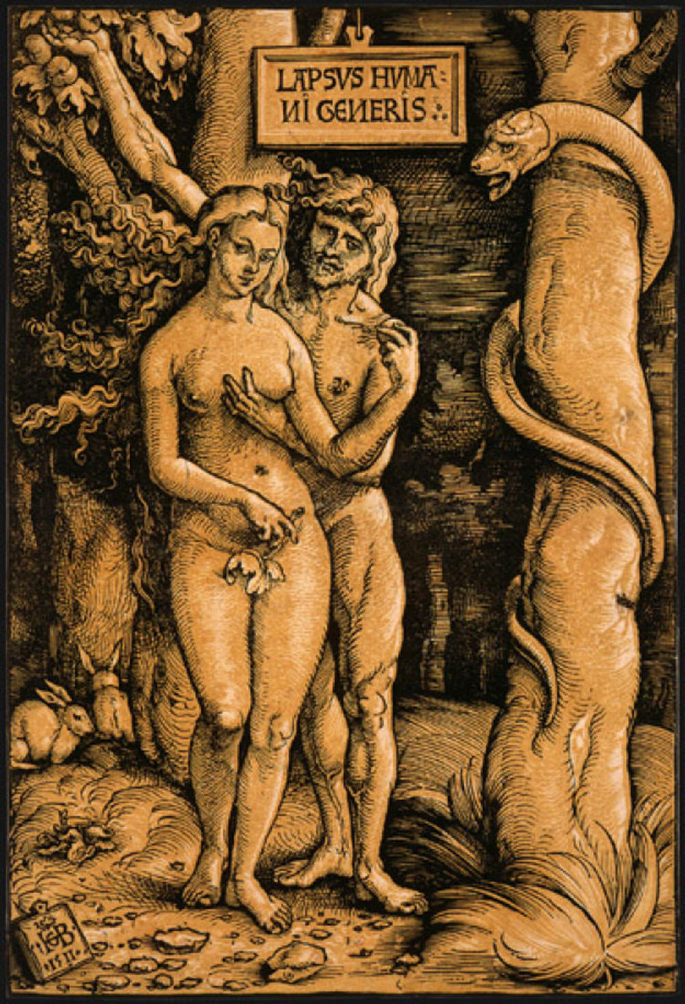 dam and Eve and the serpent in the Garden of Eden.